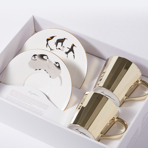 루이초Mirror Cup Gift Set-TallEmperor Penguins+Baby Emperor Penguins